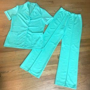 Vintage 70s Leisure Suit Blazer Twin Set 14